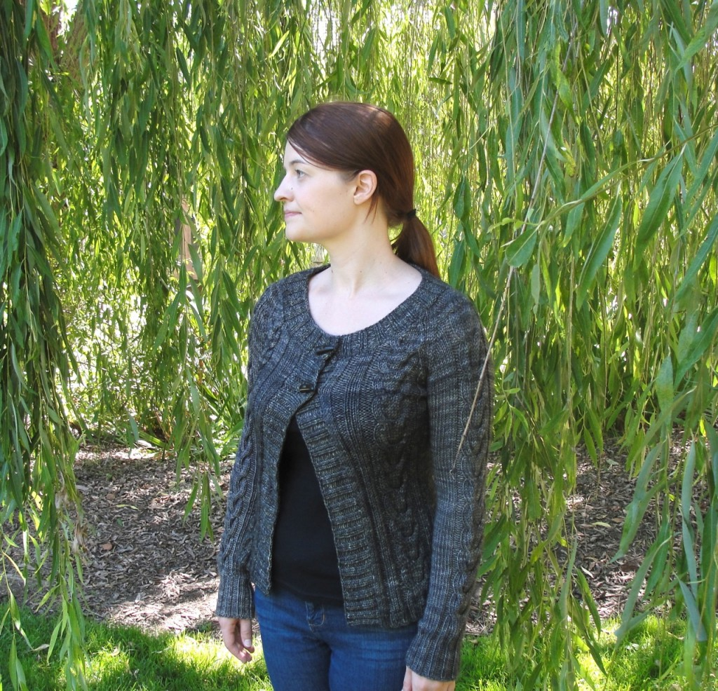 Chandail cardigan with greenery