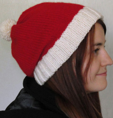 Santa slouch hat side view