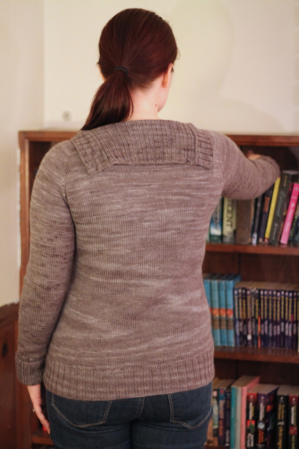 gray sweater back