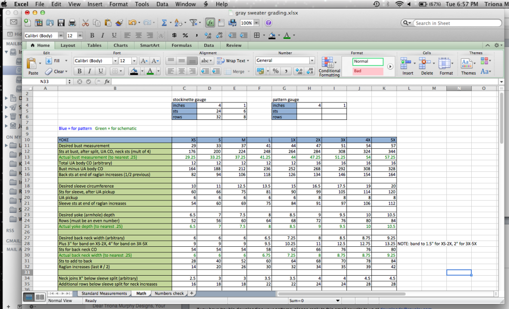 excel pattern writing